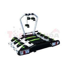 Platforma bagażnik mocowany na hak na 4 rowery, odchylany, max udźwig 60kg, wtyk 13-pin, zamykanie na kluczyk