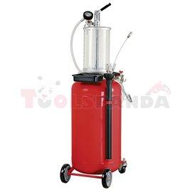 Устройство за извличане на масло чрез изсмукване. С допълнителен съд (обем 8 литра), обем на резервоара 90 литра.