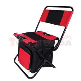 Къмпинг стол с хладилна чанта червен