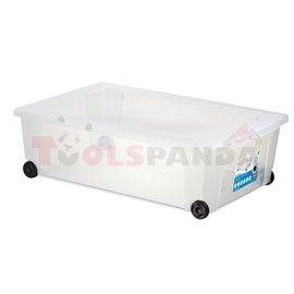 Универсална кутия Stefanplast Rollbox с колелца прозрачна