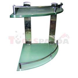 Етажерка за баня стъклена ъглова двойна 250мм. | Top Chrome