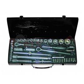 """Гедоре 1/4"""" и 1/2"""" (4-30мм.) метална кутия 52 части   Gadget"""