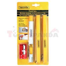 Моливи дърводелски и острилка к-т 7 бр. | Topmaster Pro