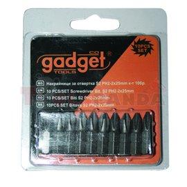 Накрайници за отвертка S2 PH.2x25мм. 10 бр. к-т | Gadget