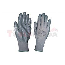 Ръкавици сиво полиестерно трико / сив нитрил   TopStrong