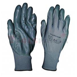 Ръкавици сиво полиестерно трико / сив нитрил-хенгер TS, р-р 10   TopStrong