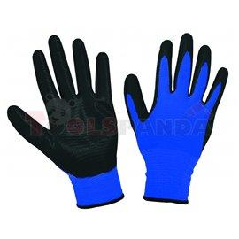 Ръкавици синьо текстурирано трико / черен нитрил   TopStrong