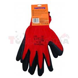 Ръкавици червено полиестерно трико / черен латекс   TopStrong