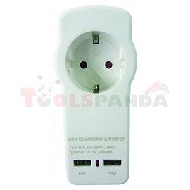 Разклонител 1 шуко 2 USB 2.1A MK | Makalon