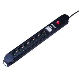 Разклонител 6 гнезда с ключ, кабел и защита срещу токов удар, претоварване и EM/RFI филтър | KONEKTO