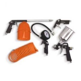 Комплект за компресор 5 бр. (пистолет за почистване, маркуч, пистолет за гуми, пистолет за въздух, пистолет за боядисване) | DAE