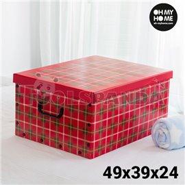 Картонена Кутия за Съхранение с Капак, Дръжки и Снимки Oh My Home