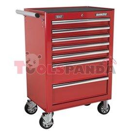 Количка за инструменти необорудвана с 7 чекмеджета, червена