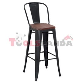 Бар стол метал/дърво черен мат 46x44x117.5см.