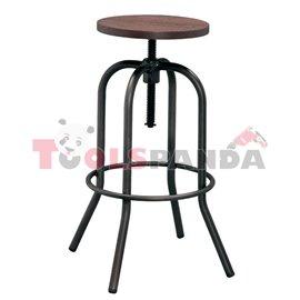 Бар стол на винт метал/дърво черен мат 40x40x70-86см.