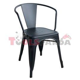 Метален стол с подлакътник черен мат 48x51x74см.