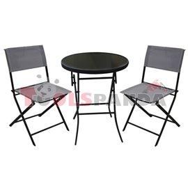 Градинска маса 60см. и 2 стола сив комплект