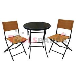 Градинска маса 60см. и 2 стола оранжев комплект