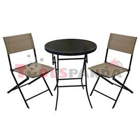 Градинска маса 60см. и 2 стола бежов комплект