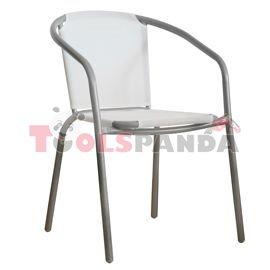 Стол с бяла мрежа и сива рамка 58x53x77см.