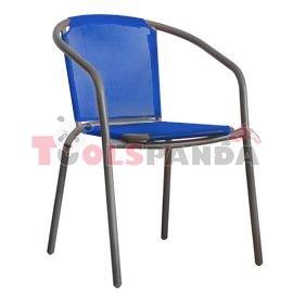Стол със синя мрежа и сива рамка 58x53x77см.