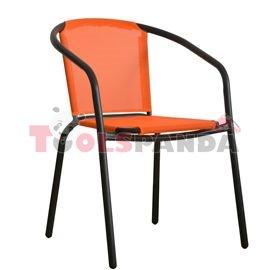 Стол с оранжева мрежа и черна рамка 58x53x77см.