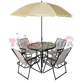 Градинска маса и 4 стола + чадър бежов комплект