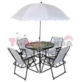 Градинска маса и 4 стола + чадър бял комплект