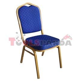 Кетъринг стол метален със синя седалка 45x51x93см.