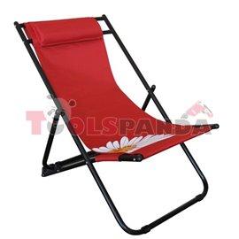 Стол плажен FLOWER 57 червен 3-позиционен