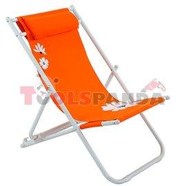 Стол плажен FLOWER 37 оранжев 3-позиционен