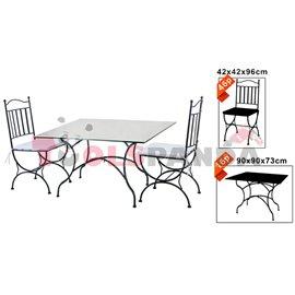 Градинска маса 90х90х73см. и 4 стола от ковано желязо комплект