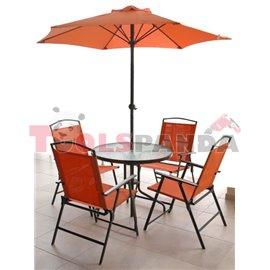 Градинска маса и 4 стола + чадър оранжев комплект