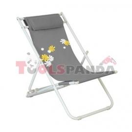 Стол плажен FLOWER 6 светло сив 3-позиционен