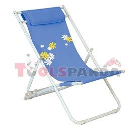 Стол плажен FLOWER 6 светло син 3-позиционен