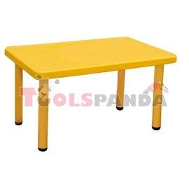Маса детска правоъгълна жълта 122x61x48см.