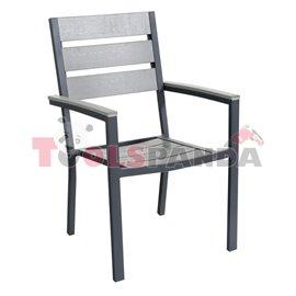 Стол с подлакътник сив 60x57x89см.
