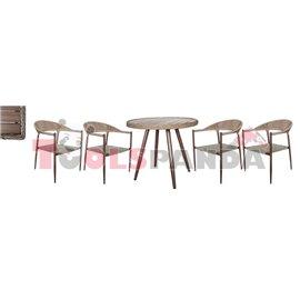 Маса кръгла 90x75см. и 4 стола с текстил 62x65x79см. комплект бистро
