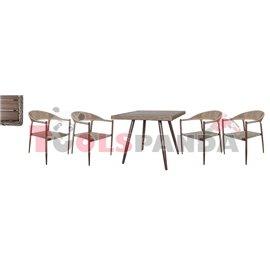 Маса квадратна 90x90x75см. и 4 стола с текстил 62x65x79см. комплект бистро