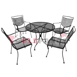 Маса кръгла ф90см и 4 стола от ковано желязо ROMANCE к-т