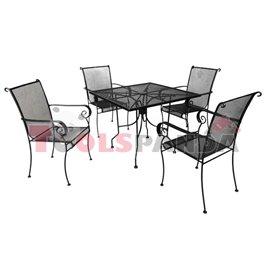 Маса 91x91см.и 4 стола от ковано желязо ORTO к-т