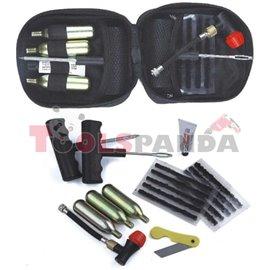 Комплект инструменти за ремонт на гуми шило, нож и 3 броя патрони с CO2, вентил за СО2