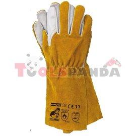 Ръкавици работни заваръчни от телешка кожа 12 чифта к-т с резистентност 3132