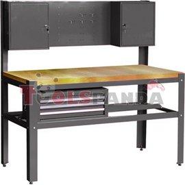 Работна маса с чекмеджета, шкаф и дървен плот размери: 1500 x 1500 x 700 мм.
