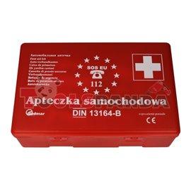 Аптечка стандарт DIN 13164, пълно оборудване в пластмасова кутия.