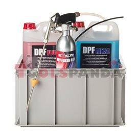 Пистолет с резервоар за почистване и измиване на филтър за твърди частици DPF с препарати к-т