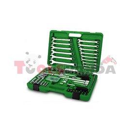 """Гедоре с тресчотка 1/4"""" 1/2"""" ключове въртоци вложки пластмасова кутия 106 части к-т"""