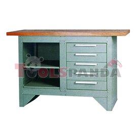 Шкаф за инструменти с дървен работен плот 5 чекмеджета и два рафта сив1 372x865x508мм.