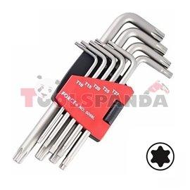 Шестограми Г-образни TORX удължени (Т10-Т50) комплект 9 бр.
