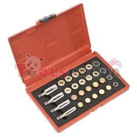 Метчици и вложки за ремонт на резбата на капачката за масло в куфарче | SEALEY